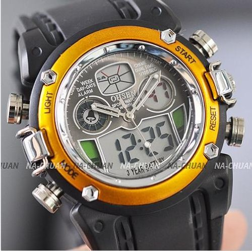 OHSEN watch backlight sport watch led electronic digital watch waterproof timer stopwatch function alarm backlight casual mens watches (gold)