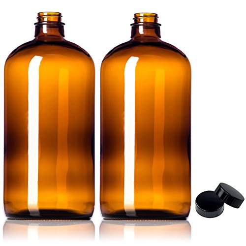 2 Pack ~ 32oz Growler ~ Amber Glass with PolyCone Phenolic Lid for a Tight Seal - Perfect for Secondary Fermentation and Storing Kombucha (32oz Water Jug compare prices)