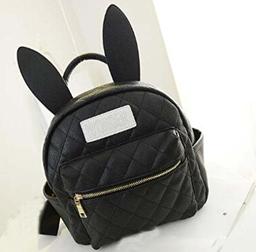 Cheapest Price! Fashion Cute Bunny Ears Backpack School Bag Daypack (black)