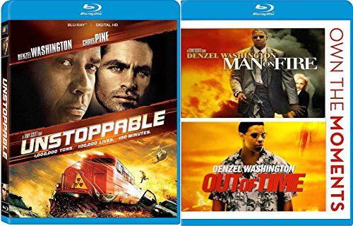 Unstoppable + Man On Fire & Out of Time Blu Ray 3 Pack Denzel Washington Action Movie Set