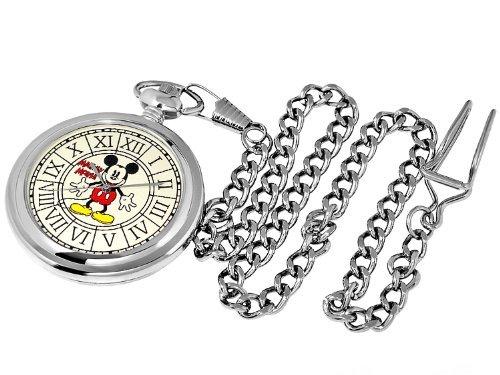 Disney Disney Mickey's birthday 110th anniversary Reprint Edition design old Mickey Pocket Watch Silver [B] retro Silver Flower flower engraved [parallel import goods]