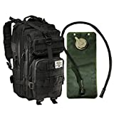 Tactical Assault Military Army Style Backpack By Monkey Paks with Hydration Water Bladder Included * Acu Camo * Black * Tan * Water Resistant Rucksack * Molle Compatatible * Great for Bug Out Bag or Daypack * 600 D Nylon Multiple Zippered Pockets to Keep All Your Stuff Organized (Black)