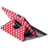 Himanjie New 360 degrees Smart Polka Dot Pu leather Cover Skin case With Stand for Apple ipad 2 3rd (Red)