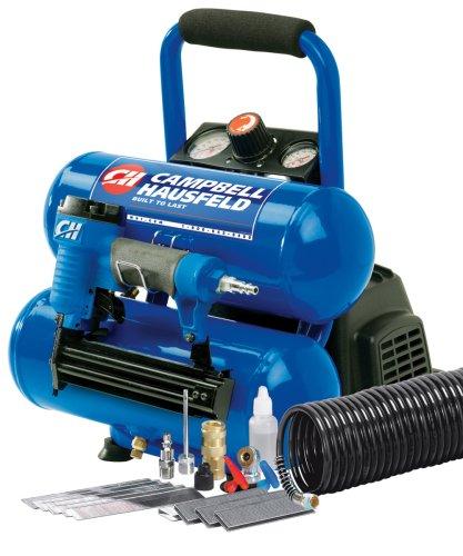 Campbell Hausfeld FP209599AV 2-Gallon Mini Twin-Stack Air Compressor with 1 1/4-Inch 2-in-1 Brad Nailer / Stapler Kit