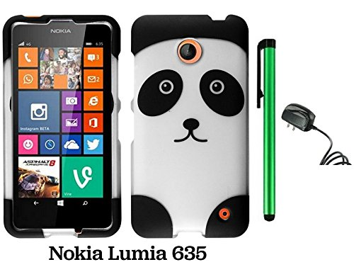 Nokia Lumia 635 (Us Carrier: T-Mobile, Metropcs, And At&T) Premium Pretty Design Protector Cover Case + Travel (Wall) Charger + 1 Of New Assorted Color Metal Stylus Touch Screen Pen (Black Silver Panda Bear)