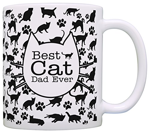 Cat Lover Gifts Best Cat Dad Ever Kitty Pattern Rescue Cat Gift Coffee Mug Tea Cup Pattern