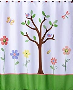 Butterfly Park Tree And Flower Fabric