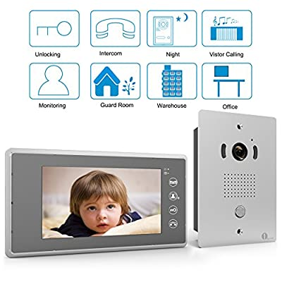"[Upgrade Version]1byone 7"" Color LCD Touch Screen Wired Video Doorbell, With Video Recording and PhotoTaking Function, 120° Wide-Angle VP-0637"