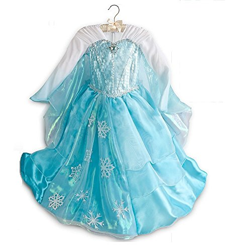 2014 Official Disney Frozen Elsa Anna princess Dress-Elsa deluxe Size 9-10