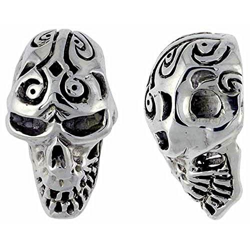 Tattooed-Ciondolo a forma di teschio, in argento Sterling, 32 mm di altezza