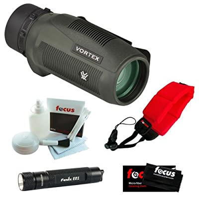 Vortex Optics S136 Solo 10x36 Monocular + Keychain LED Flashlight + Micro Fiber Cleaning Cloth + Cleaning and Care Kit + Floating Foam Strap Red from Vortex Optics