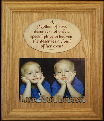8×10 A Mother of Boys Photo & Poetry Frame ~ Holds a Landscape 5×7 Picture/Photo ~ Wonderful Gift for Mother's Day, Birthday or Christmas! – Baby Keepsake Frames
