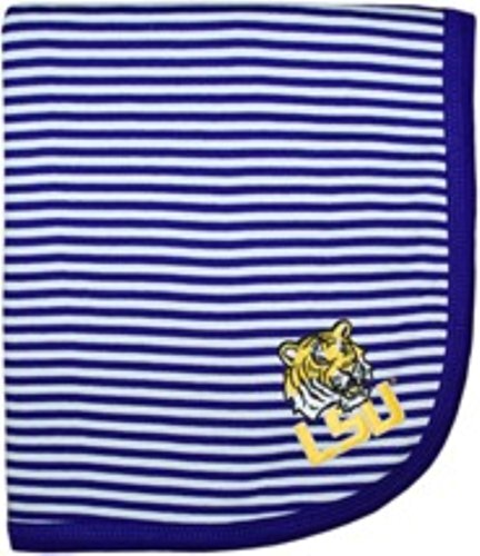 "NCAA College Newborn Infant Baby Blankets 33"" x 36"" (LSU Tigers Purple)"