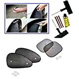 6 Pieces Car BikeTyre Puncture Kit, Car Auto Window Side Chipkoo Sunshade Curtains Set Of 4Pcs