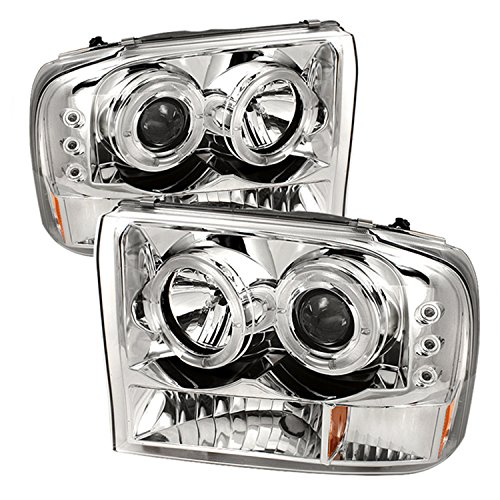 Spyder Auto Ford F250/F350 Super Duty/Ford Excursion Chrome Halogen LED Projector Headlight