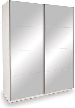 Dallas Sliding Double Mirrored Bedroom Wardrobe Closet 2 Door | High Gloss White