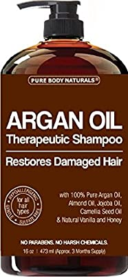 Argan Oil Shampoo Restores Damaged Hair - Argan Oil for Hair, Increases Shine and Deeply Nourishes - Safe for All Hair Types and Color Treated Hair - 16 oz Bottle with Pump …