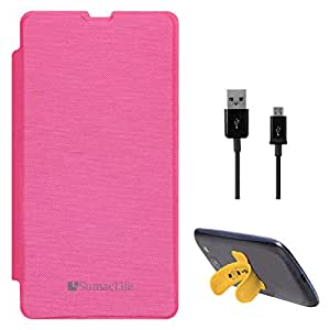 SumacLife PU Leather Flip Cover Case for Microsoft Lumia 535 (Magenta) + Data Cable + Touch U Silicone Stand