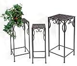 3er-Set Beistelltisch Blumenständer *Cadice* Metall antikbraun - H60