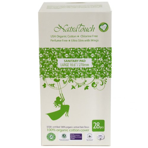 Natratouch Organic Sanitary Pads Ultra Slim with Wings 28 piece (Large)