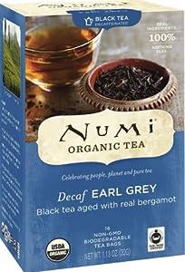 Numi Organic Tea Decaf Earl Grey Tea Bags, 16-Count