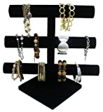 Black Velvet Triple Tier Jewelry Bracelet Organizer Display Stand