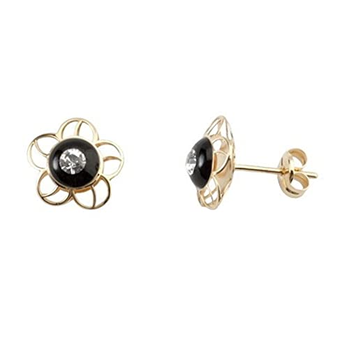 18k gold earrings zircon black enameled flower close pressure [5513]