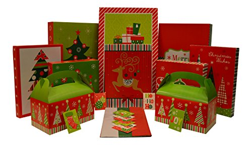 Christmas Gift Box Set - Kit Contains Gift Boxes, Gift Tags, Tissue Paper - Everything Needed To Wrap Presents (36 Piece Set)