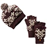 Muk Luks Women's Visor Beanie and Flip Glove Set