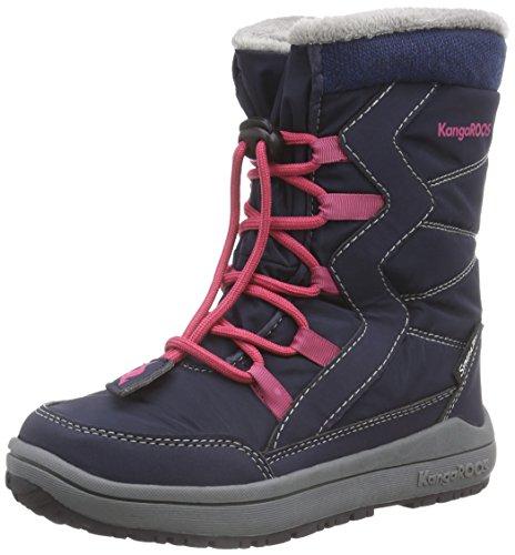 KangaROOSKanga-Tex 2121 - Scarponi da neve imbottiti, a mezza gamba Unisex - bambino , Blu (Blau (dk navy/magenta 464)), 32