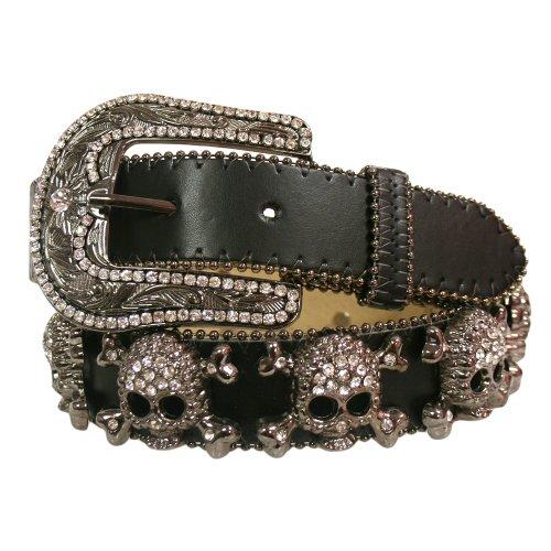Luxury-Divas-Black-Leather-Belt-With-Big-Rhinestone-Skull-Cross-Bones