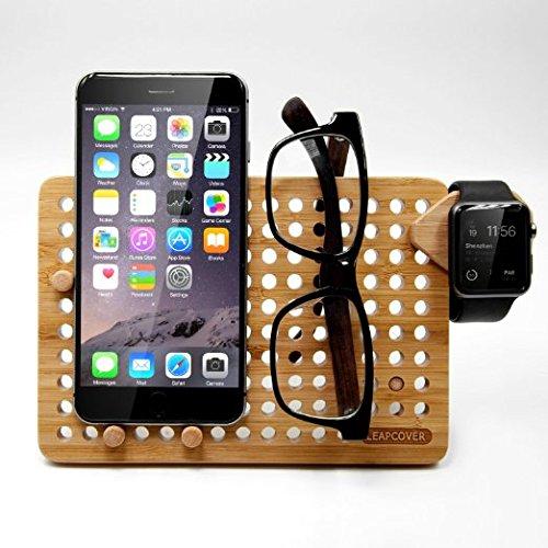LEAPCOVER multifunzione Bamboo fai da te rack di stoccaggio - Telefono Multi-Angle Universal Mobile e Tablet di ricarica per iPhone 7, 7 Plus, Samsung, Apple Osservare, Fitbit, compresse, Opera e molto altro