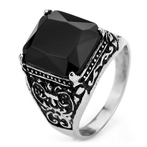 Men'S Stainless Steel Ring Agate Silver Black Cross Claw Knight Fleur De Lis Vintage Wedding Size10
