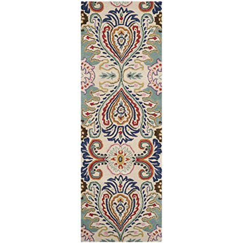 Safavieh Bella Collection BEL118A Handmade Ivory and Blue Wool Runner, 2 feet 3 inches by 9 feet (2'3