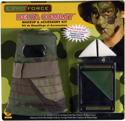 Camo Force Delta Combat Makeup Kit with Hat and Dog Tag - 1