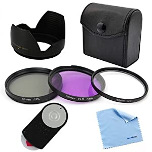 BIRUGEAR Replacement RC-6 Remote Control + 58mm 3 Pcs Filter Kit (UV/CPL/FLD)+Flower Lens Hood+Cleaning Cloth for Canon EOS 100D, 700D, 650D, 600D, 550D, 500D, 450D, 400D, 60D, 7D, 5D Mark III (with 18-55mm, 75-300mm, 50mm 1.4 , 55-200 Lenses)