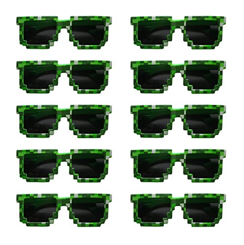 8-Bit Pixelated Sunglasses Birthday Party Favors (Set of 10 Pairs) - Party Bag Fillers for Miner Themed Parties