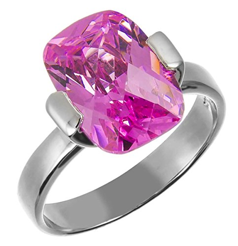 10X14Mm .925 Sterling Silver Luxury Beautiful Elegant Rectangle Emerald Cut Pink Sapphire Cz Ring Size 5-10 (6)