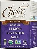 Choice Organic Caffeine Free Lemon Lavender Mint Herbal Tea, 16 Count Box