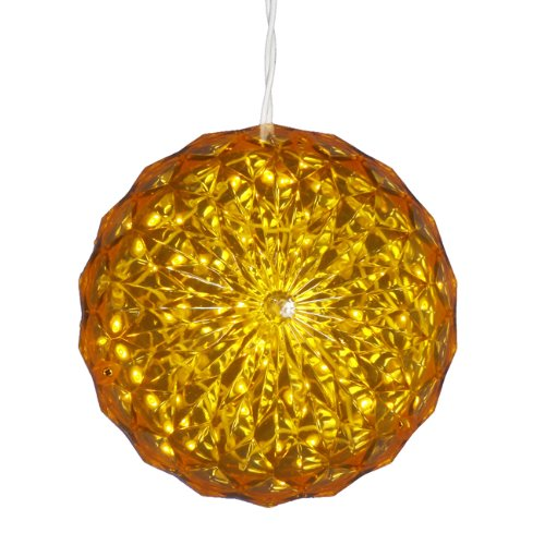 Yellow LED Lighted Hanging Crystal Sphere Ball