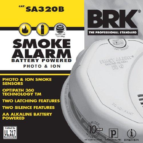 First Alert Sa320B Smoke Alarm, 9V Battery Powered & Dual Sensor Photoelectric & Ionization