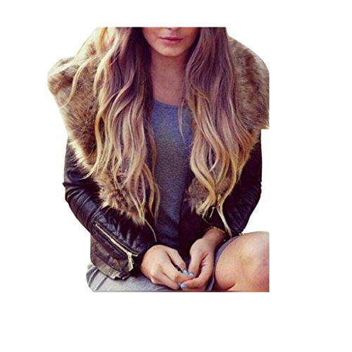 Koly_Le donne caldo faux cappotto collo di pelliccia giacca di pelle soprabito (S)