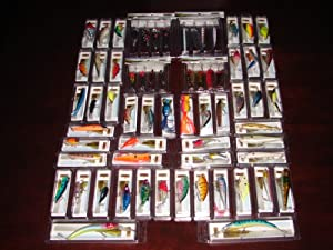 Lot of 64 New in the Box Bass Trout Redfish Musky Crankbait Fishing Lures with Spoons by Nuthin Fancy Outdoors