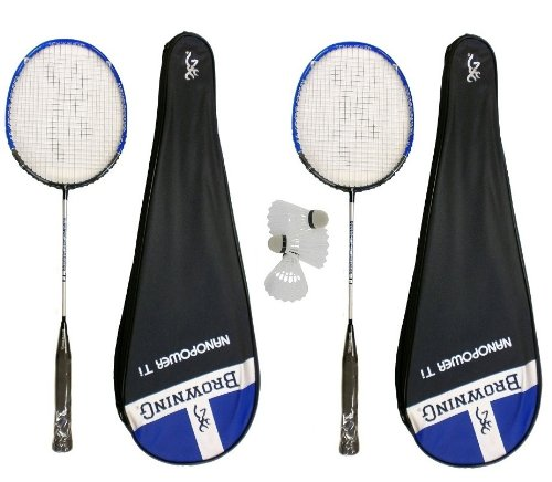 2 x Browning Nanopower Ti Badminton Rackets + 3 x shuttles RRP £290