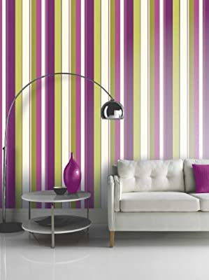 Arthouse Opera Tropicana Stripe Heavy Weight Wallpaper Wallcovering 410801 Plum - Full Roll by Arthouse