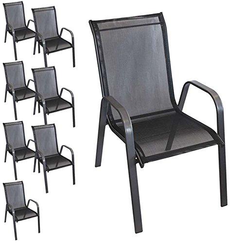 8 Stück stapelbarer Gartenstuhl Gartensessel Stapelstuhl Stapelsessel Stahlgestell pulverbeschichtet mit Textilenbespannung Gartenmöbel Terrassenmöbel Balkonmöbel Anthrazit / Schwarz kaufen