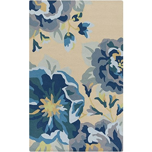 3' x 5' Dancing Dahlias Beige, Dusty Blue, Taupe and Navy Hand Hooked Area Throw Rug