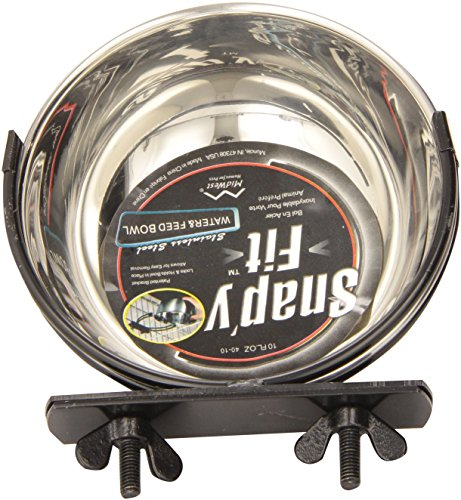 MidWest Stainless Steel Snap'y Fit Water and Feed Bowl, 10 Ounce