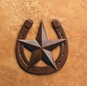Rustic horseshoe with barn star wall decor for Horseshoe kitchen decor