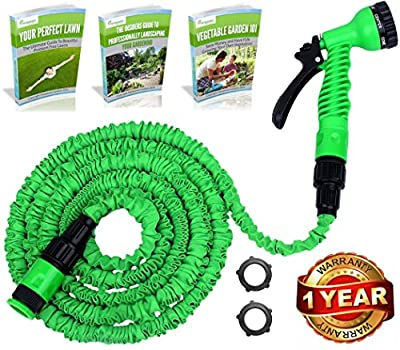 #1 GUARANTEED Deluxe Expandable Garden Hose Pipe - Original and Best Pampered Gardens 50ft WonderHose - Fits Hozelock Style Fittings - Tap to Pressure Washer Suitable - Professional 7 Setting Sprayer Gun - Don't Settle for Poor Quality Non-Kink Imitations